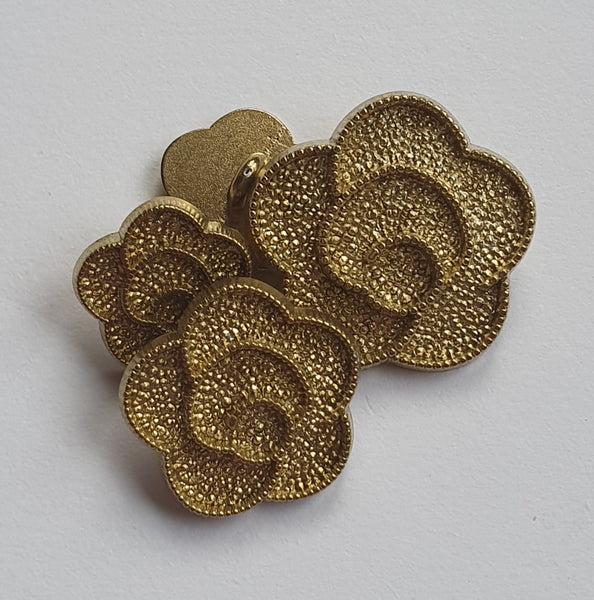 Textured Matt Gold Flower Buttons