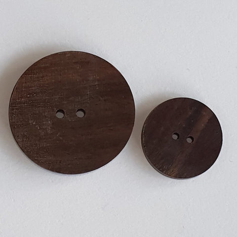 Dark Wooden Buttons - Hand Made