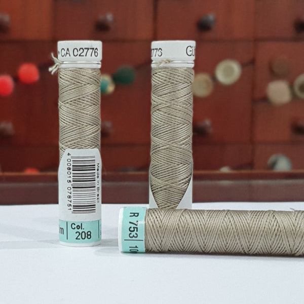 Beige #208 -  Gutermann Buttonhole Silk Twist / 10m spool