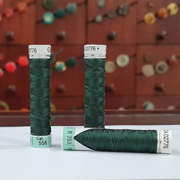 Dark Emerald Green #556 - Gutermann Buttonhole Silk Twist / 10m spool
