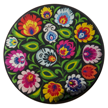 Metal with colourful floral design / Flat