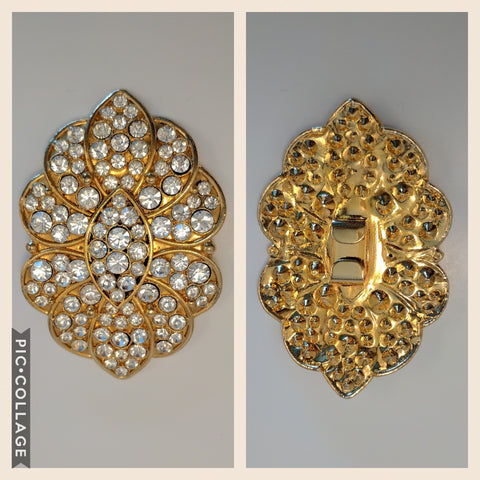Large Gold & Diamante Buckle (9.0cmx6.0cm)