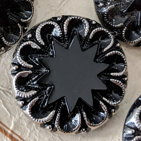 Black with Silver Lustre / Glass