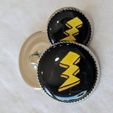 Lightning Bolt / Yellow with black background / Acrylic Dome