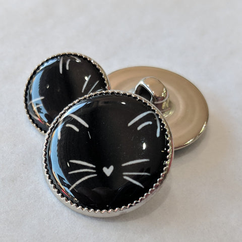 Cat / White cat ears and whiskers with black background / Acrylic Dome