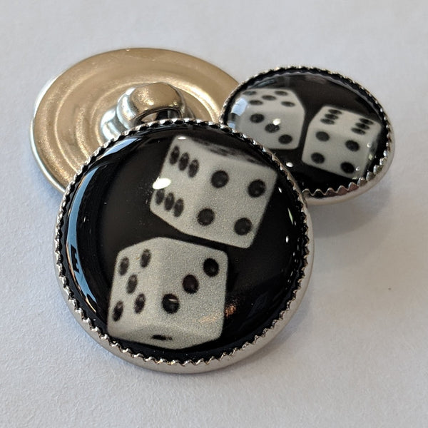 Dice / White with Black Dots / Black Background / Acrylic Dome
