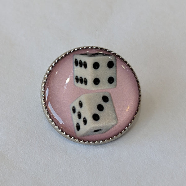 Dice / White with Black Dots / Pink Background / Acrylic Dome