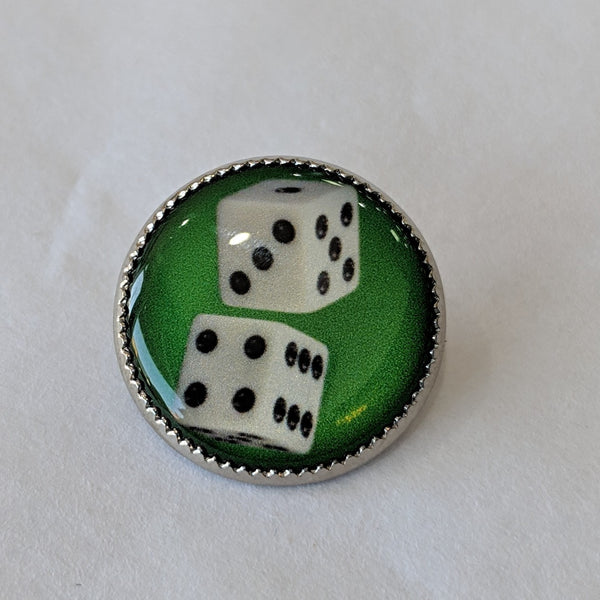 Dice / White with Black Dots / Green Background / Acrylic Dome