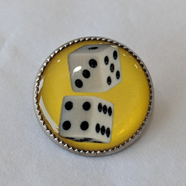 Dice / White with Black Dots / Yellow Background / Acrylic Dome