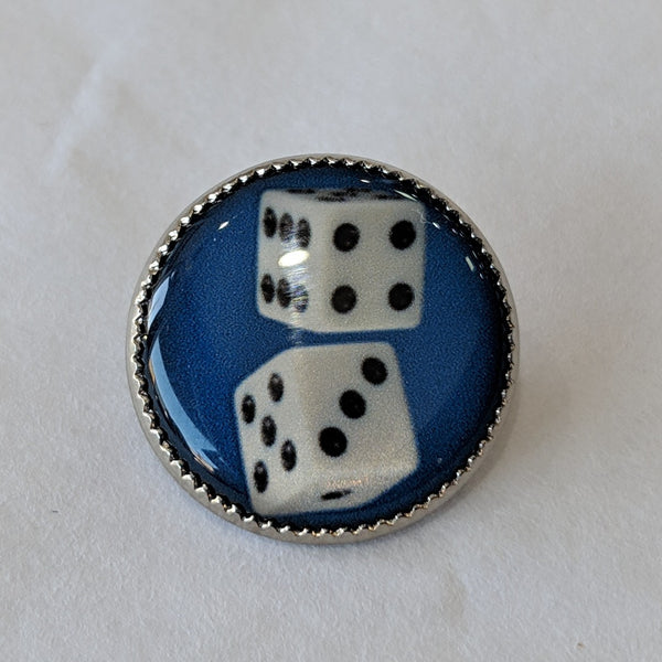 Dice / White with Black Dots / Blue Background / Acrylic Dome