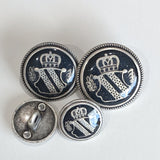 Blazer Buttons with Shield / Antique Silver / Black Epoxy (clear coating)