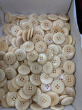 Natural / Vegetable Ivory / Flat with bevelled Edge / 4 Hole