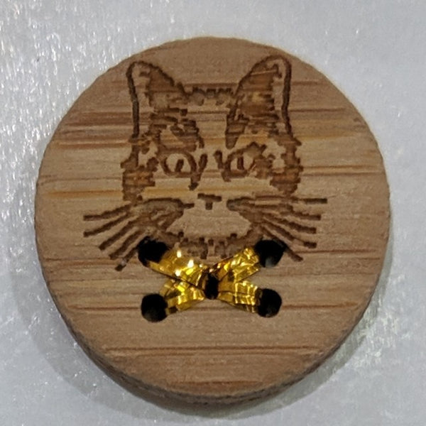 Cat face / Laser etched / bamboo