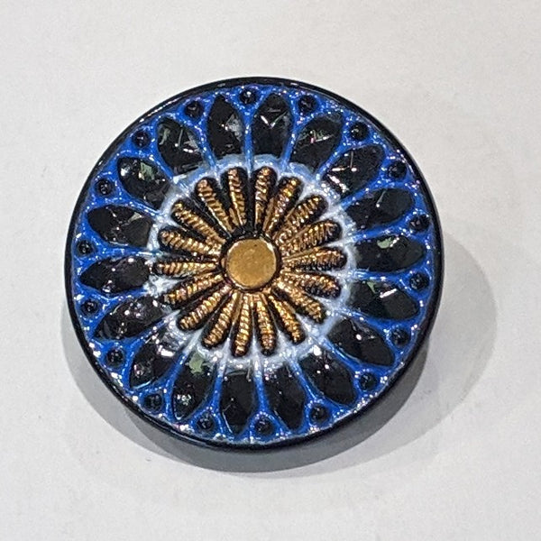 Blue & Gold Lustre / Vintage / Black Glass
