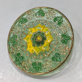 Green & Gold Lustre / Vintage / Glass