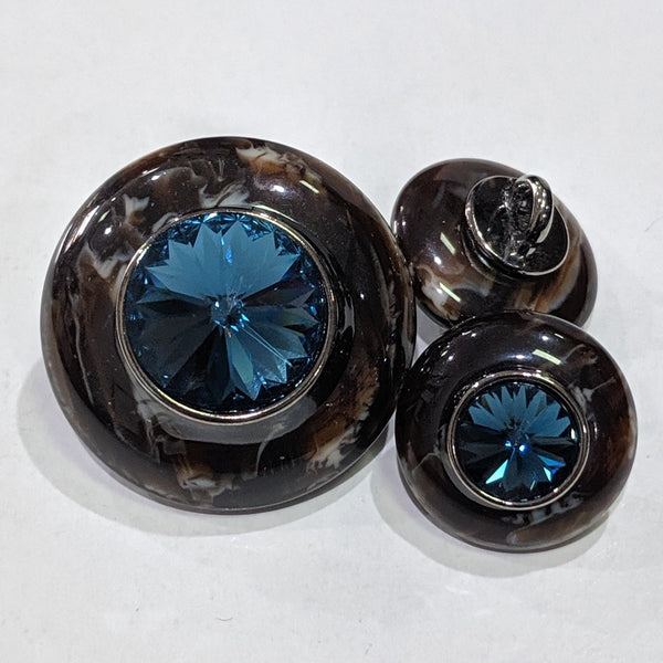 Brown Marbled Edge / Blue Rhinestone Centre