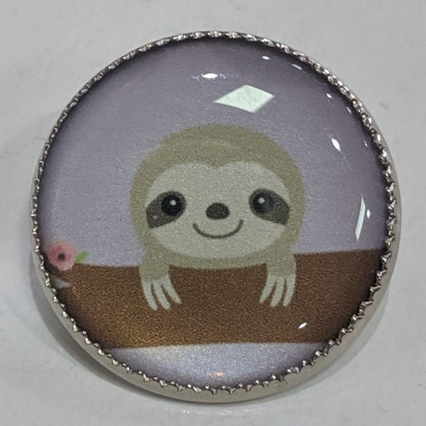 Sloth on branch / Purple background / Acrylic Dome
