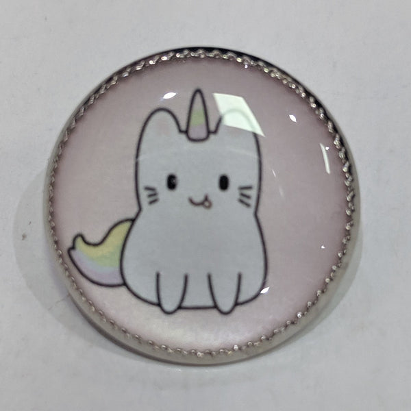 Caticorn / White with Pink background / Acrylic Dome