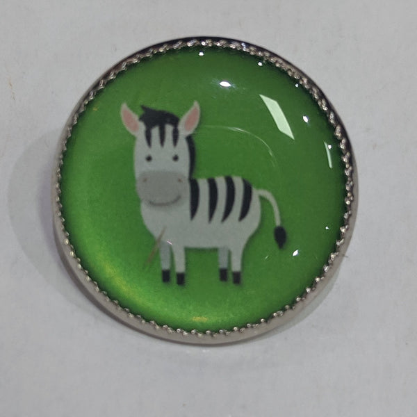 Zebra / Green background / Acrylic Dome