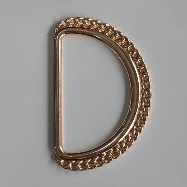 Decorative D-ring Rose Gold Buckle / Metal