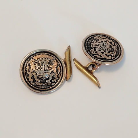 Cufflinks / Round / Brown/ Coat of Arms