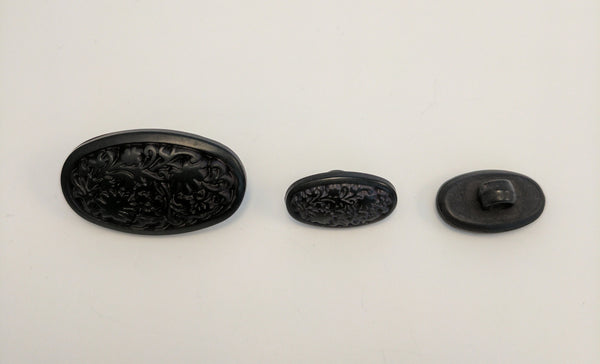 Black / Oval / Carved leaves / Matte