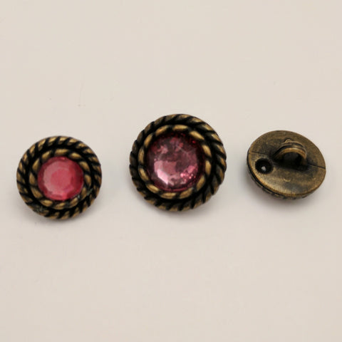 Bronze / Rope Edge / Pink Diamante Centre