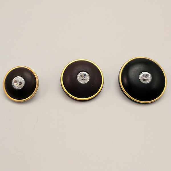 Black / Thin Gold Ring / Single Diamante in Centre