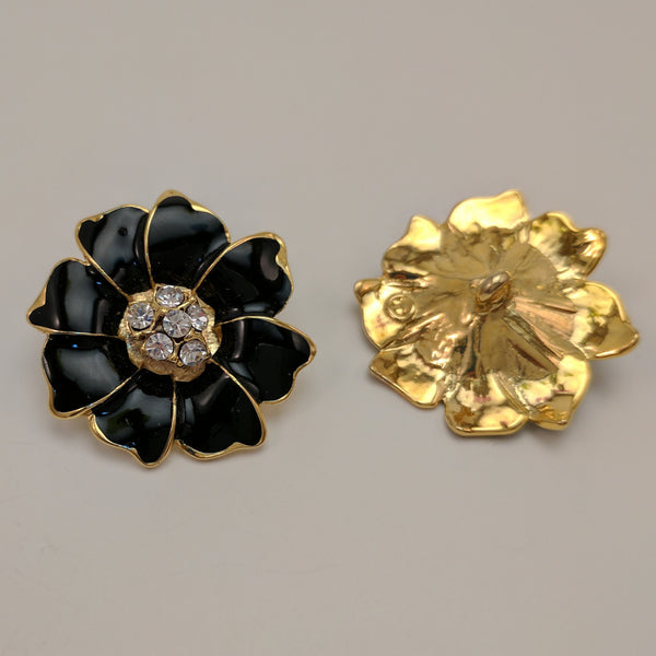 Black Flower/ Gold shank / Diamante Centre