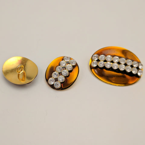 Orange / Gold Shank / Oval / 2 Rows Diamantes