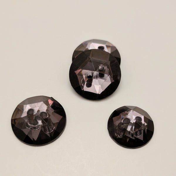 Black / Sew through / Faceted /  Shiny