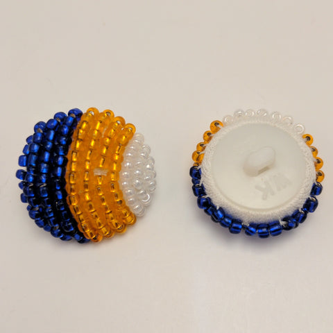 Blue, Orange & White Beaded / Handmade / Shank
