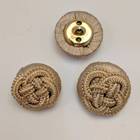 Beige / Fabric & Cord / Celtic Knot Button