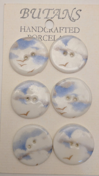 White / Clouds / Porcelain (card of 6)