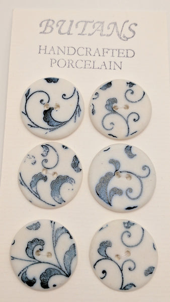 White / Jacobean (blue large swirl)/ Porcelain (card of 6)