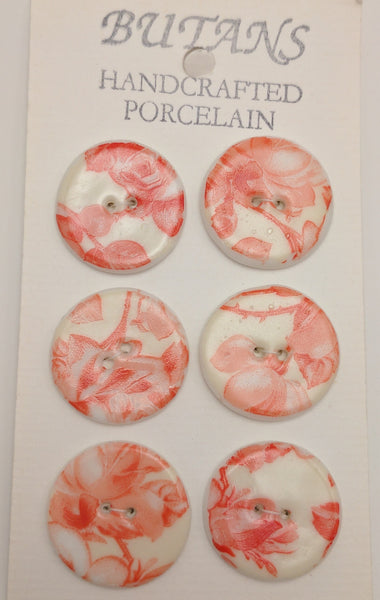 White / Red rose / Porcelain (card of 6)