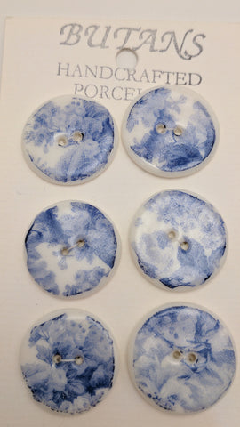 White / Blue rose / Porcelain (card of 6)