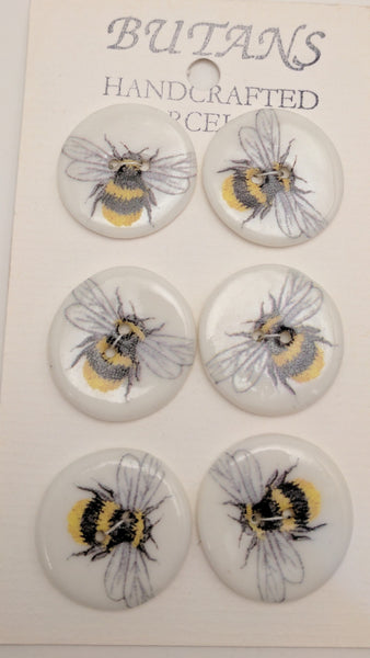 White / Bee / Porcelain (card of 6)