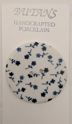 White / Blue Flowers / Porcelain
