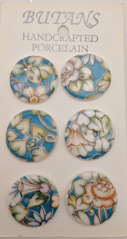 White / Flowers (teal / orange) / Porcelain (card of 6)