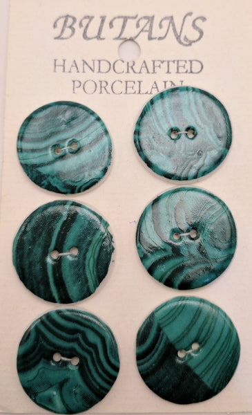 White / Green Swirls / Porcelain (card of 6)
