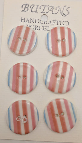 White / Stripes #4 (purple / pink / blue) / Porcelain (card of 6)