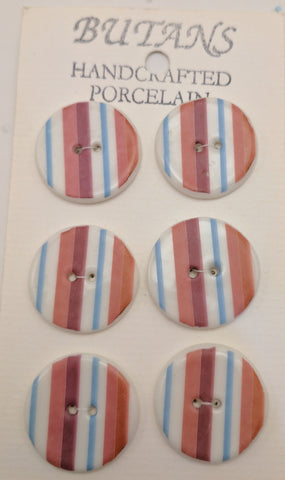White / Stripes #3 (purple / pink / blue) / Porcelain (card of 6)