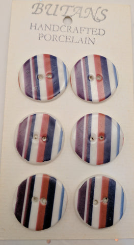 White / Stripes #2 (purple / green / red) / Porcelain (card of 6)