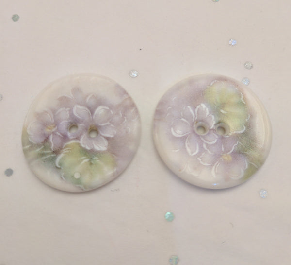 White / Flowers (purple violets) / Porcelain