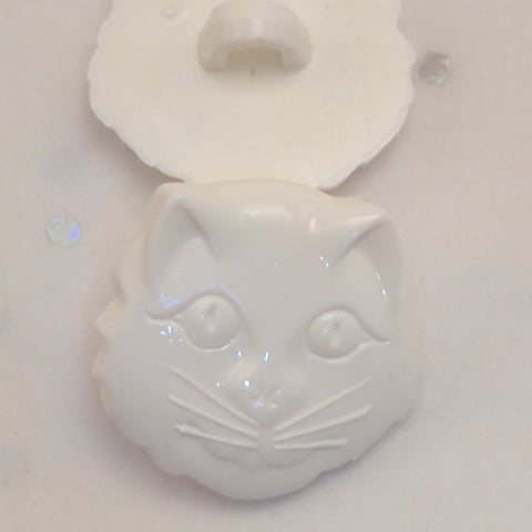 Cat Face / White / Plastic Shank