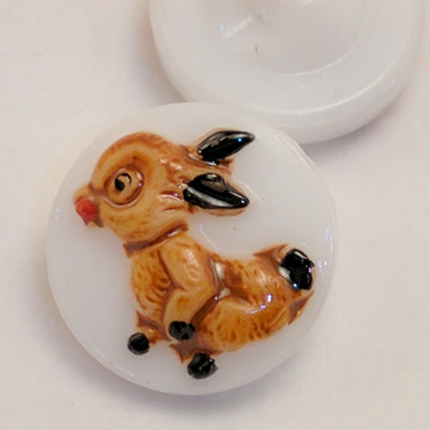 White Glass / Rabbits / Vintage Shank Buttons