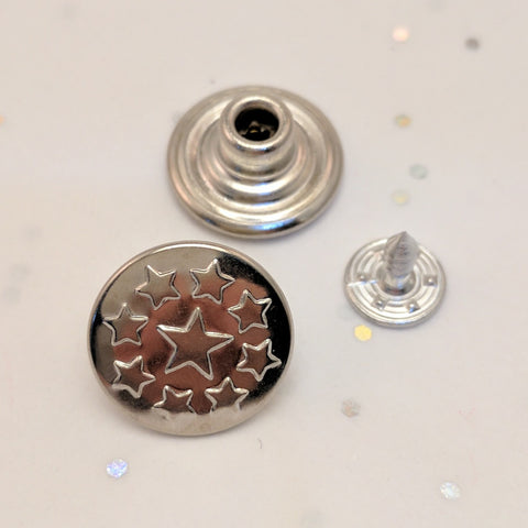 Silver Stars / Jean Buttons and Rivets / Tack Buttons