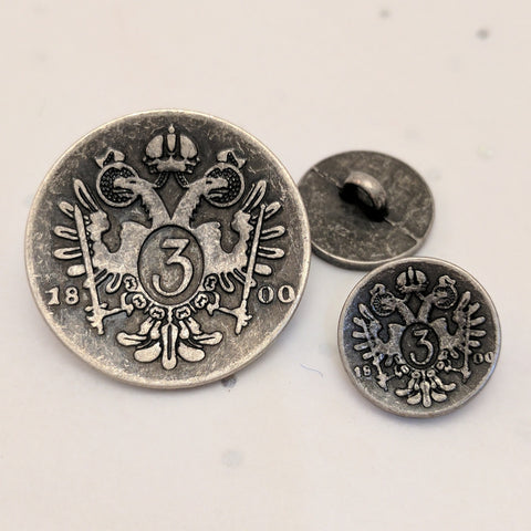 Bird Blazer Button / Antique nickel /  Matte