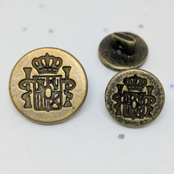 Crest and crown Blazer Button / Antique Brass /  Matte